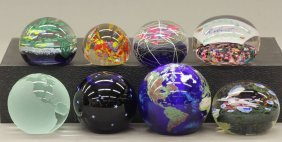 "LOT OF (8) GLASS PAPERWEIGHTS Diameter- 2 1/4"", 3"