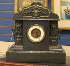 French Marble Mantle Clock With Metal Mounts