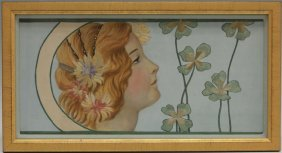 Pair Of Austrian Paintings On Silk With Tapestry