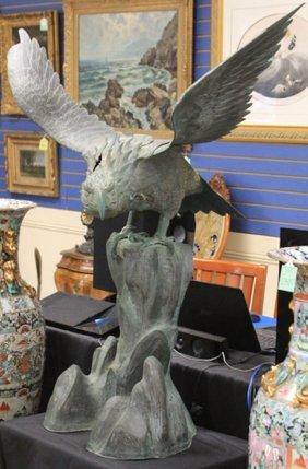 Early Cast Bronze Of Eagle In Flight
