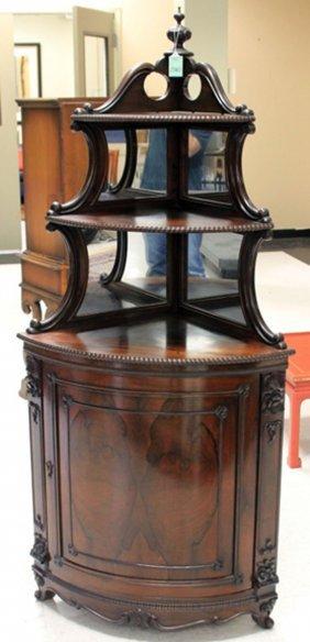 Victorian Rosewood Carved Corner Cabinet