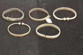 Lot Of (5) Chinese Silver Bracelets, 19th Century