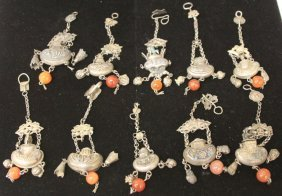 Lot Of (10) Qing Dynasty Silver Ornaments