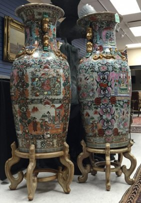 Pair Of Chinese Floor Vases W/ Stands