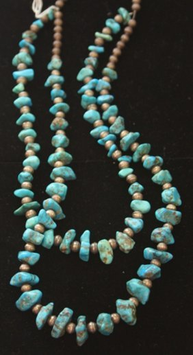 Native American Silver And Turquoise Necklace