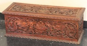 Chinese Carved Wood Storage Box