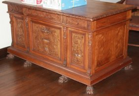 Late 19th Century Carved Walnut Desk And Chair