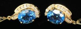 Pair Of Blue Topaz Earrings, 14kt