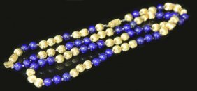 14kt Yellow Gold & Lapis Lazuli Beads Necklace