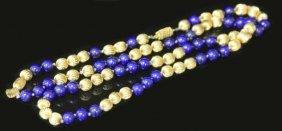 14kt Yellow Gold & Lapis Lazuli Beads Necklace