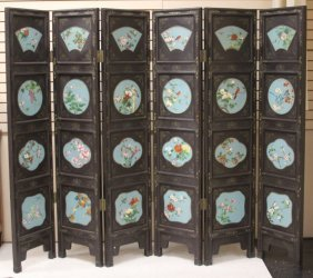 Chinese Six-panel Cloisonne Wall Folding Screen