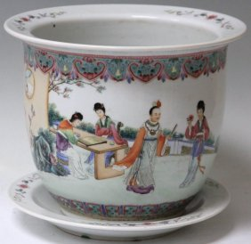 Chinese Republic Period Jardiniere And Plate