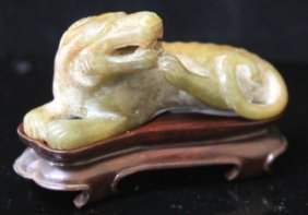 Chinese Jade Carving Recumbent Figure,20th Century