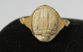 Egyptian Gold Scarab Ring W/ Letter, 1924