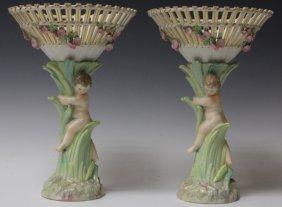 Pair Of K.p.m. Porcelian Figural Vases