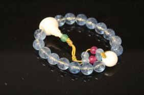 Blue Chinese Peking Glass Bracelet