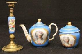 Lot Of (3) Sevres Porcelain- Teapot, Candlestand