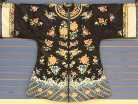Chinese Embroidered Silk Robe, 1900s
