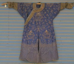Early Chinese Silk Embroidered Robe, 8 Dragons