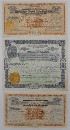 Three Vintage Mining Stock Certificates