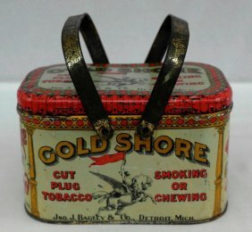 Vintage Gold Shore Tobacco Lunch-box Tin