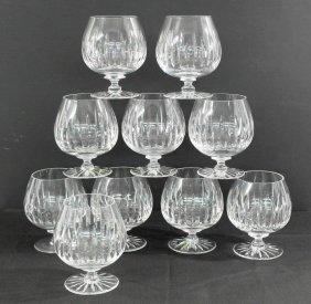 Set Of Ten Handcut Lead Crystal Brandy Snifters