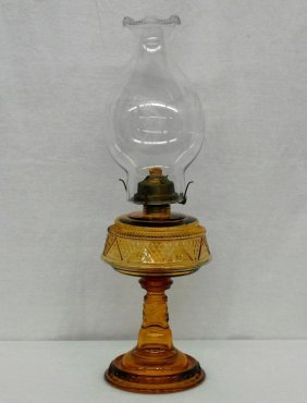 Victorian Glass Oil Lamp With Plume & Atwood Fireside