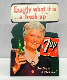 7-up Die-cut, Easel-back Sign Dated 1944