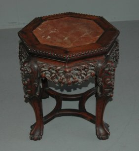Chinese Teak & Marble Tabouret