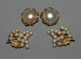 2 Pair Of Pearl Earrings