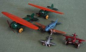 5 Toy Airplanes Wyandotte, Hubley, Arcade