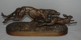 C. F. Woerffel Bronze Sculpture Of Borzoi