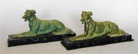 Pair Of Bronze Resting Borzoi