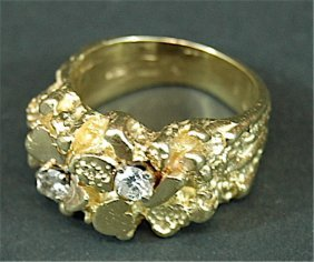 Gold Nugget & Diamond Ring
