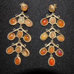 Mexican Gold And Opal Earrings