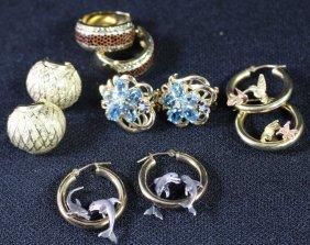 Five Pair Of 14k Yellow Gold Earrings
