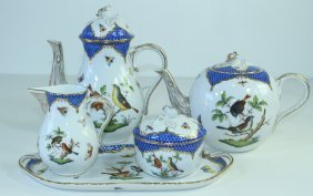 Herend Porcelain Rothschild Bird Blue Border