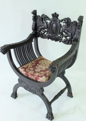 Continental Carved Ebonized Armchair