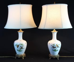 Pair Of Herend Porcelain Table Lamps