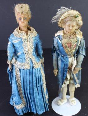 Two Mid 1800s Wax Dolls