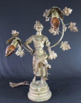Art Nouveau Figural 2 Light Lamp