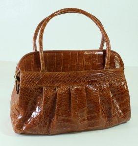 Nancy Gonzalez Coral Crocodile Handbag