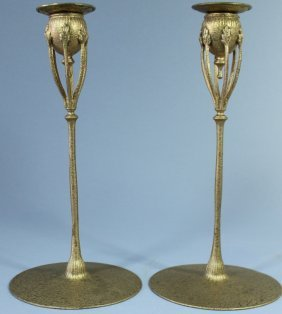 Pair Tiffany Studios, Bronze Candlesticks #1210