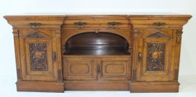 Carved Yew Wood English Sideboard