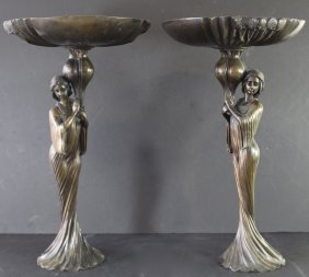 Pair Of Bronze Art Nouveau Compotes