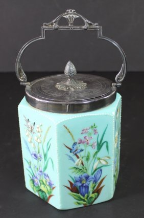 French Blue Opaline Glass Biscuit Jar