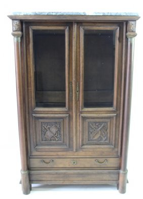 French Style Marble Top Bookcase