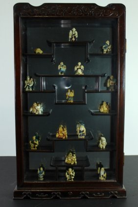 Oriental Curio Cabinet With Netsukes