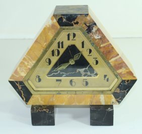 French Art Deco Marble Mantle Shelf Clock