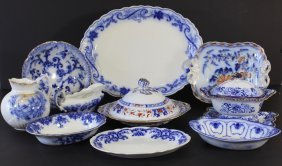Group Of Flow Blue Porcelains